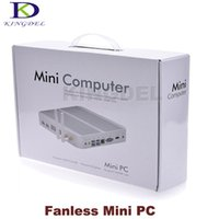 barebone case - Barebone thin client Mini Desktop pc Intel Celeron Pentium Dual Core Ghz Wifi Dual LAN HDMI Win7 metal case fanless