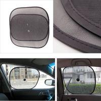 Wholesale Universal Car Window Sunshade Black Mesh Shield Sun Visor Foldable Car Windshield Side Rear Windows Sun Shade Suction cup K2178