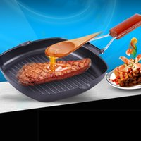 aluminium frying pans - Fashion Home Kitchen Frying Pan Square Shape Folding Pans For Cookware Aluminium And Wooden Supplies