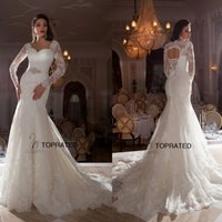 Trumpet/Mermaid bare back dress - 2015 New Lace Mermaid Wedding Dresses Bridal Gown With Long Sleeve Sheer Neckline Sexy Bare Back Beaded Sweep Train Custom Made Ivory Z53