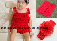 baby boy ribbon - 10 off cheap fashion cute Baby boy Girls petti Lace Romper with Ribbon Bow Jumpsuit clothes sock hair band