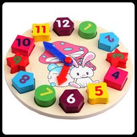Wholesale Child baby blocks digital clock educational Learning toys Early childhood mental shape matching Wooden
