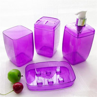 Eco-Friendly,Stocked bath product bottles - 4 Piece Set Bathroom Sets Soap Dishes Shampoo Bottle Toothbrush Holders Box Storage Organizer Bath Accessories Supplies Products