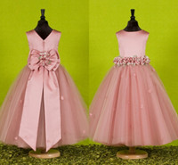 Wholesale Satin Bow Wedding Dress - Custom Made Beautiful Pink Flower Girls Dresses for Weddings 2015 Pretty Formal Girls Gowns Cute Satin Puffy Tulle Pageant Dress Spring