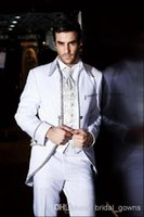 western suits - New Top Beaded White New wedding tuxedos Mens Tailored Suit Blazer Trouser Coat Pant Jacket Indo Western Wedding Tuxedo Custom made Handsome