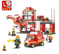 Cheap Christmas gifts Sluban Building Blocks blocks City Fire Station Truck Helicopter Firefighter Minifigure learning & Education toys