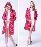 Wholesale New Dot Outdoor Travel Women Ladies Girl Waterproof Riding Clothes Raincoat Poncho Pocket Hooded Knee Long Rainwear Nylon TY1110