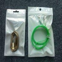 plástico transparente + blanco Cremallera al por menor paquete del bolso para el cable de datos de accesorios del teléfono del coche del cargador de la célula del embalaje 2000pcs bolso / lot