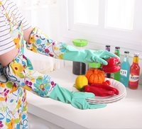 Wholesale LJJD3286 pairs Kitchen Waterproof Long Sleeves washing gloves Dishwashing gloves Houldhold Clean Laundry Supplies Kitchen gloves