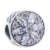 angel stones - Brand European Beads Fit Pandora Charms Silver CZ Crystal Big Hole Beads Stone Flower Beads for Pandora Bracelet Neclace DIY PX0096 B