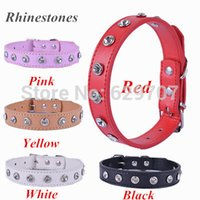 Wholesale 10pcs Design Pu Leather Dog Collar Rhinestones Accessories Mixed Colors Collar For Dogs Universal Pet Dog Supplies
