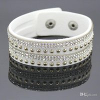 Wholesale New Product Sell Like Hot Cakes Fashion Charm Crystal Bracelet Man Leather Bracelet Woman