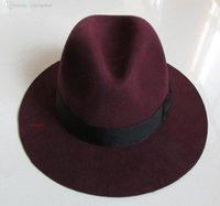 australian wine - Panama Hat Pure High Quality Australian Wool Fashion Heisenberg Hat Large Size Black Wine Red Camel Dark Gray Factory Outlets