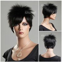 Cheap Free Shipping,New Stylish Heat Resistant Black Short Straight wig,Lady's Fashion Sexy Party Cosplay Synthetic Hair Wig hair band