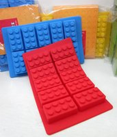 Wholesale Silicone LEGO Brick Style Freezer Ice Cube Tray Ice Mold Maker Bar Party Drink DIY Building Block Sharped Ice Tray Free DHL Fedex