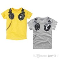 Wholesale New Headphone Design T shirt Boys Kids Short Sleeve Tops T shirt Tees Cotton