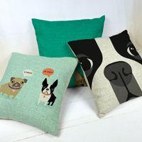 Wholesale boston terrier decorative throw pillows almofadas case for sofa car bed x45 cute dog cushion cover home decore