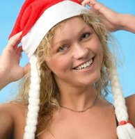 Wholesale Non woven Christmas decorations Christmas hats beautiful Christmas hats with braids santa hat Specials