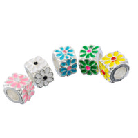 Wholesale 5PCs Enamel Spring Flower Pattern Cube Charm Beads For Charm Bracelet DIY