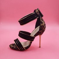 animal print high heels - Black Lepoard Sandal For Women Thin High Heels Stilettos Back Zipper Custom Size US4 Made to order Ladies Shoes For Women Sexy New