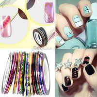 Wholesale 30 Mix Color Rolls Striping Tape Metallic Yarn Line Nail Art Decoration Sticker fingernails sticker adesivo para unhas P66Z