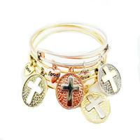 Wholesale Alex and ani Bangles Women Charms Alex Ani Christian Cross Alloy Pendant Bracelet Vintage Gold Expandable Bracelets Cheap Charm bangles