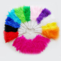 goose feathers - Beautiful feather fan for dance props goose feather folding fan Wedding Hand Fancy Dress Costume Colors