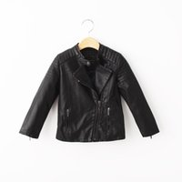 kids leather jackets - 2015 Boys Leather coat black zipper cool design High quality leather jacket Kids Clothes Outwear S999M