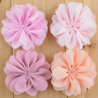 children fabric - 2 Fabric Chiffon Flowers Hair Flowers For Baby Headbands Children Hair Accessories Freeshipping MH52