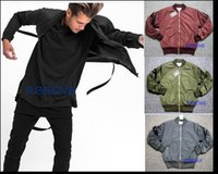 air force belts - Autumn winter New Men s jacket Curved knife sleeve Removable Condole belt air force jacket coat