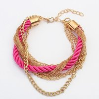 Wholesale brand new gold bangle bracelets for women jewellery color leather chain bracelets charm vintage jewelry