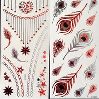 rose tattoos - 35 style Metallic RED Temporary Tattoo Stickers Gold Flash tattoos Body art sex Waterproof Necklace bird rose ring feather tattoo sticker