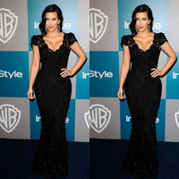 Cheap Kim Kardashian Sexy Elegant Black Lace Sequins Evening Dresses Celebrity Dresses Capped Sleeves Lace Sheath Floor Length Red Carpet Dresses