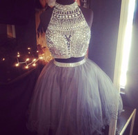 semi formal dress - New High Neck Short Prom Dress Beading Crystal Two Pieces Graduation Cocktail Dresses Sexy Semi formal Gowns