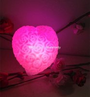 Wholesale Love Heart Rose LED Night Lights Colour Changing Rose Love Heart Light LED Decorative Lights Color lights Christmas Gifts DHL Free CN888
