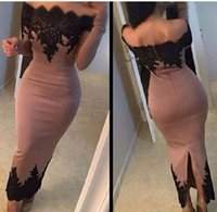 Cheap Ankle-length Long Sleeve Evening Dresses 2015 Off The Shoulder Black Lace Satin Arabic Formal Party Prom Gowns Women Pageant Gowns Hot Sale