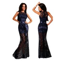 Wholesale 2016 New Arrival Lace Maxi Party Dress Bodycon Evening Mermaid Dress Elegant Sleeveless Floor Length Long Dresses Black Club Wear for Women