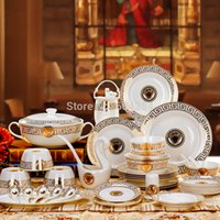 ceramic pieces - European Famous piece Gold trim western high grade fine bone china dinnerware set service for wedding gifts