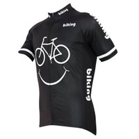 Wholesale 2015 Biking Smiley Cycling Jerseys Shirts Comfortable Breathable Bike Wear Cycling Tops Summer Black Short Sleeves Men Cycling Jerseys