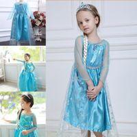 Wholesale In stock frozen Princess dream dress frozen elsa knee length tutu cartoon cosplay dresses for girls pageant gowns BO6799