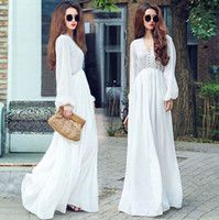 Wholesale 2015 New Women Chiffon Boho Beach Long Sleeve Bikini Cover Up Kaftan Summer Maxi Sundress Long Party Dress