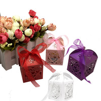 Wholesale 10Pcs Many Colors Heart Laser Cut Gift Candy Favour Boxes With Ribbon for Wedding Party Table Decoration Wholesales