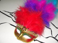 Cheap 18*25cm Long Feather masks Lace Trimming Female Party Mask with 11 root Feathers Fashion Party Masquerade Mask 10pcs lot