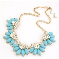 Cheap 2015 Hot Sale Pendant Necklaces Middle Eastern Gift Ruby Jewelry New Korean Jewelry Uncle Selling High-end Fine Diamond Flower Necklace A216