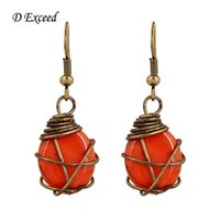antique cloisonne beads - Orange Little Animal Resin Beads Pendant Antique Bronze Earrings Cute and Fashion Style Long Drop Earrings for Women Hot Prom ER140320