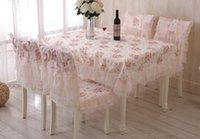 lace tablecloth - H13 new Korean Pastoral lace dining table cover set tablecloth dining chair cover cushion table cloth chair cushion table runner