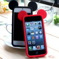 Wholesale iPhone S Mickey Head Protective Bumper Case Cover Shell Apple Silicone Sleeve Border Mickey Mouse Ears iPhone4S iPhone Accessory