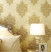 Wholesale Luxury CM CM Flock Non woven Metallic Floral Damask Wallpaper Design Modern Vintage brick wall paper Wallpaper Roll