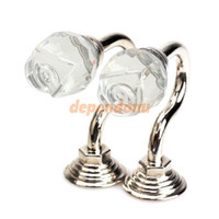 Wholesale 2PCS Vintage Crystal Wall Tieback Curtain Hook Tassel Towel Hanger Silver
