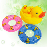 Wholesale Cute Baby Girl Boy Bath Bathing Classic Toys Rubber Race Squeaky Ducks and Swimming Laps Set Yellow Sale